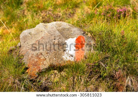 Trail Sign on a Rock in Mountain - Italy / Red and white trail Sign on a Rock in Mountain on green grass. Hiking trail sign symbol in Italy alps - stock photo