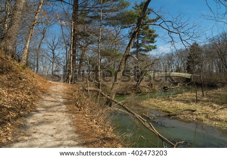 Trail through entrance of Tonti and LaSalle Canyon's on a Spring afternoon.  Starved Rock, Illinois, U.S.A.. - stock photo