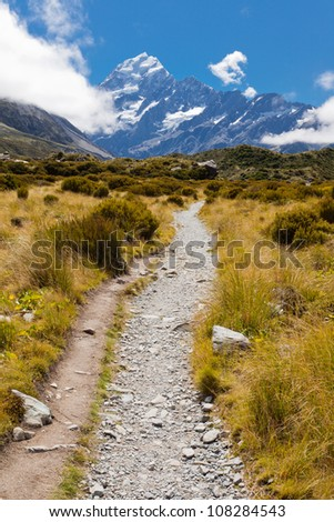 Trail through tussock in Hooker Valley, section of a track leading to Aoraki, Mount Cook, highest peak of Southern Alps, an icon of New Zealand partially covered in clouds - stock photo