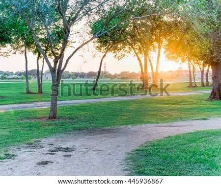 Trail through urban park with bench illuminated by sunshine alley at sunset in Houston, Texas, US. Blurry of people workout at the end of trail. Natural composition and healthy lifestyle concept. - stock photo