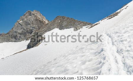 Trail to Forester Pass, the highest Mountain Pass on the Pacific Crest Trail in the Sierra Nevada. - stock photo