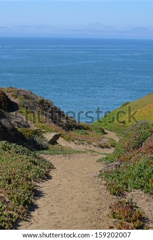 trail to the ocean - stock photo