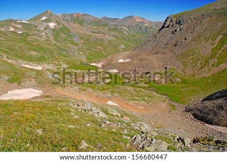Trail View from Handies Peak, San Juan Range, Rocky Mountains, Colorado  - stock photo