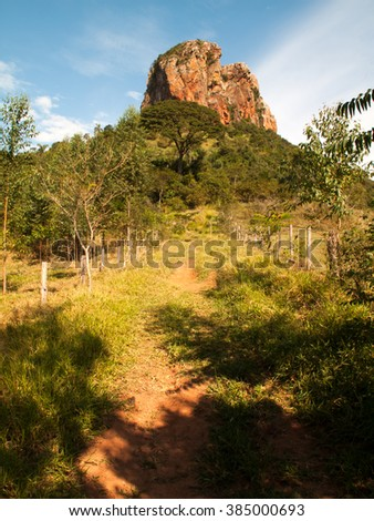 Trail way to sandstone rock in up-country Sao Paulo - Brazil - stock photo