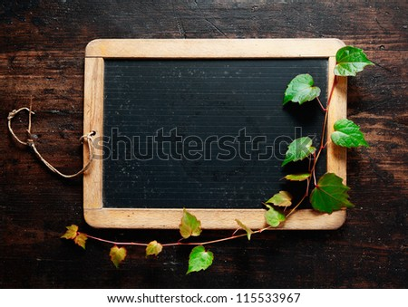 Trailing green leaves on a blank slate blackboard for your message, advertisement or menu with dark woodgrain textured timber boards as a backdrop - stock photo