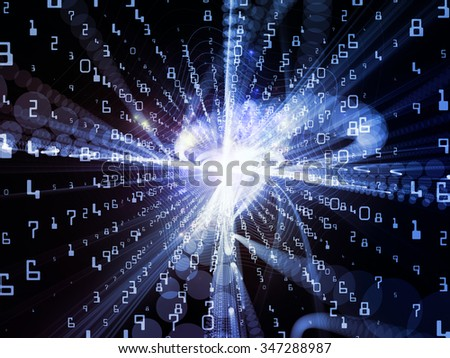 Trails of Technology series. Abstract design made of particle trails, light and science related elements in three dimensional space on the subject of modern technology - stock photo