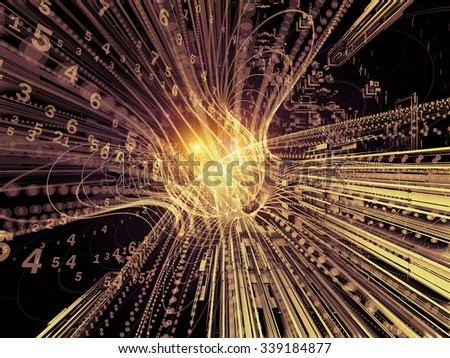 Trails of Technology series. Interplay of particle trails, light and science related elements in three dimensional space on the subject of modern technology - stock photo