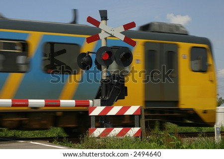 train and signals - stock photo