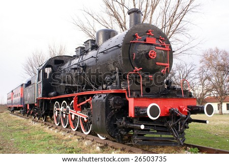 Train and steam locomotive in Edirne, Turkey - stock photo