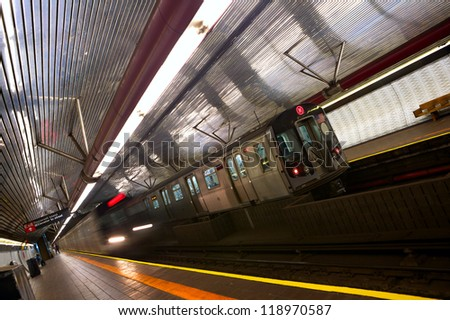 Train arriving to station, New York City subway - stock photo