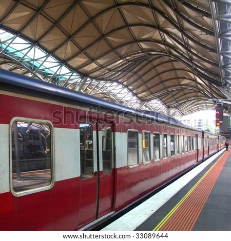 Train at Melbourne's southern cross station - stock photo