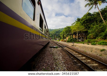 Train before Lam-pang in North Thailand - stock photo
