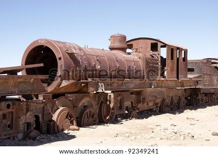 Train cementary, Uyuni, Bolivia - stock photo