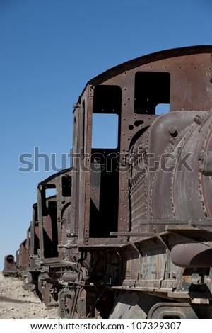 Train Cementery outside of Uyuni village, Salar de Uyuni,Potosi region,Bolivia, South America - stock photo