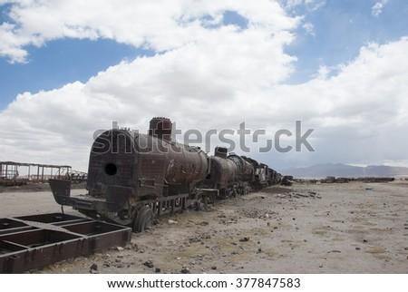 Train Cemetery (Cementerio de Trenes) in Salar de Uyuni, Bolivia. - stock photo
