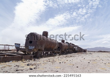 Train cemetery in Uyuni desert in Bolivia. - stock photo