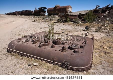 Train cemetery, Southern Altiplano - stock photo