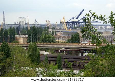 Train, crane and industry in Odessa, Ukraine - stock photo