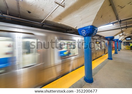 Train fast moving in Hoboken station, New York City. - stock photo