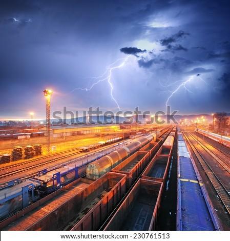 Train Freight transportation at storm - Cargo transit - stock photo