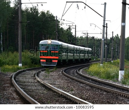 Train going across the country - stock photo