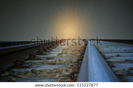 Train Headlight in Deep fog at Night - stock photo