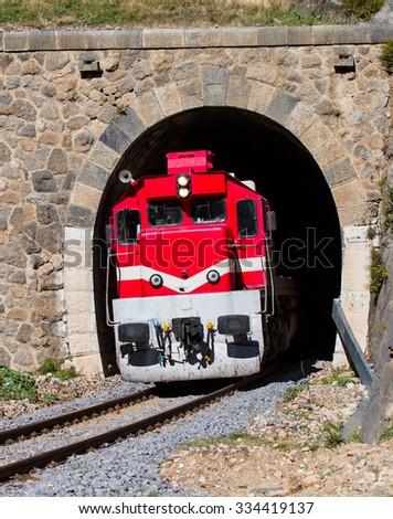 train in the tunnel - stock photo