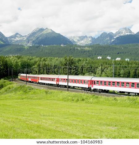 train in Vysoke Tatry, Slovakia - stock photo