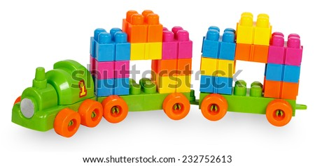 Train of colorful childrens building bricks isolated on white background - stock photo
