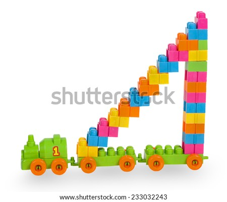 Train of colorful childrens building bricks with staircase isolated on white background - stock photo