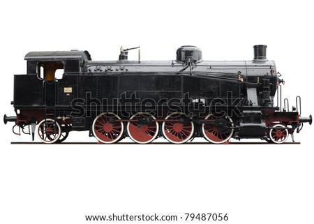 Train, old locomotive isolated on white, clipping path included - stock photo