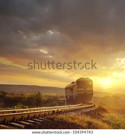 train on the railroad - stock photo