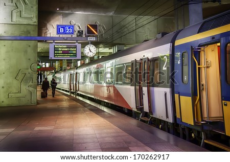train platform by Antwerpen train station   - stock photo