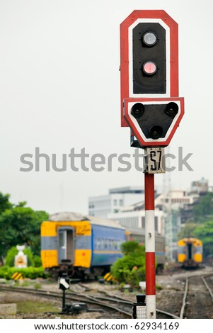 Train signal light - stock photo