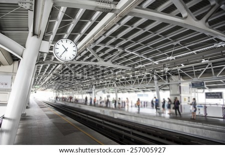 Train station background,(Focus on clock) - stock photo