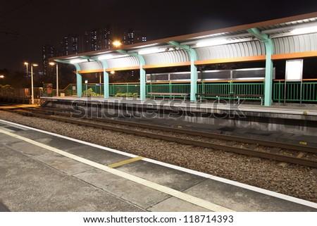 Train station in Hong Kong - stock photo