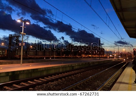 train station in the evening - stock photo