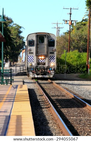 Train Station in Ventura California with a view of the tracks and train. - stock photo