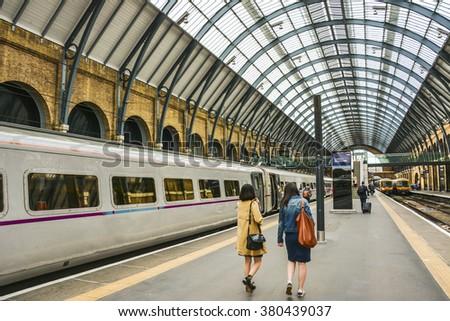 train station , king cross station platform - stock photo