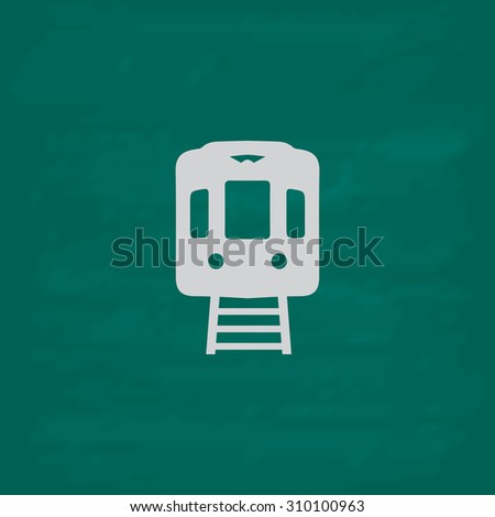 Train subway.  Icon. Imitation draw with white chalk on green chalkboard. Flat Pictogram and School board background. Illustration symbol - stock photo