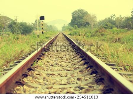 train track in thailand - stock photo