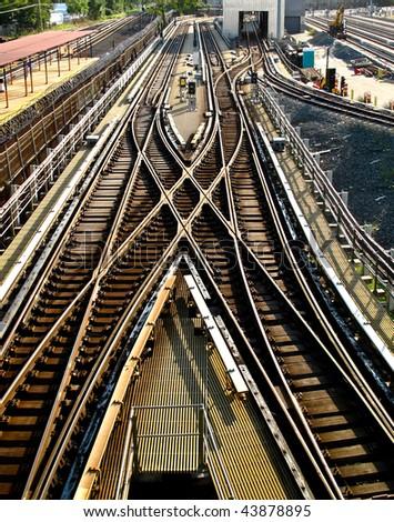 train tracks at the train depot - stock photo