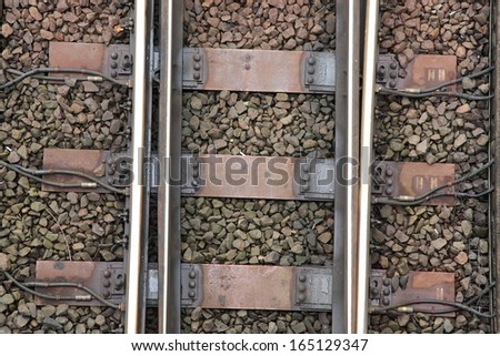 Train Tracks Detail from Above  - stock photo