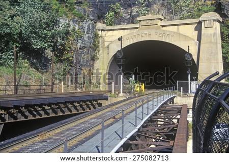 Train tracks in Harper's Ferry, West Virginia - stock photo