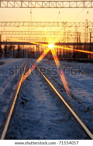 Train tracks in the evening - stock photo