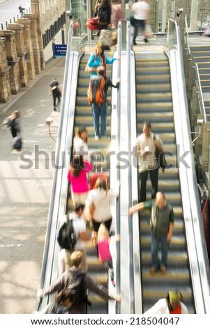 Train Tube station Blur people movement in rush hour at Edinburgh, Scotland, UK - stock photo