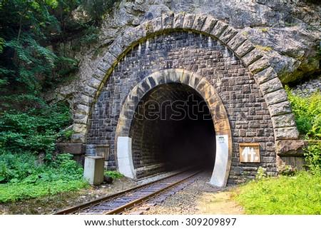 Train Tunnel - Harmanec, Slovakia - stock photo