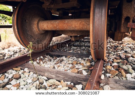 train wheels close-up - stock photo