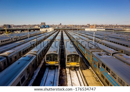 Train yard New York City (Long Island Rail Road) - stock photo