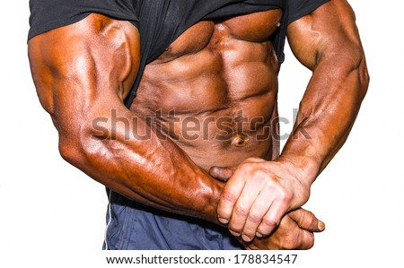 Trained body on white isolated background - stock photo